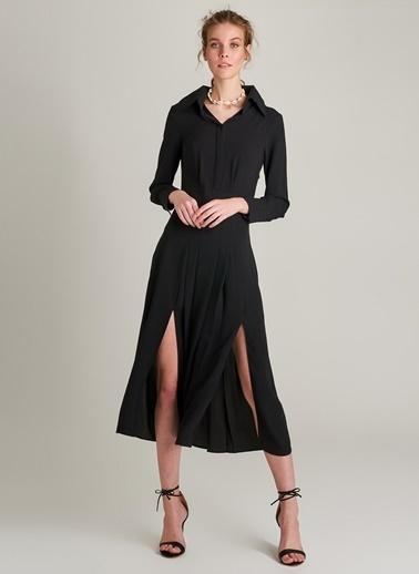 Ng Style Piliseli Yırtmaç Detaylı Elbise Siyah